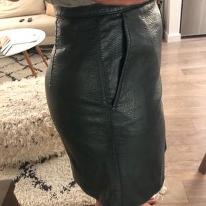 Hunter Green Faux Leather Mini Skirt